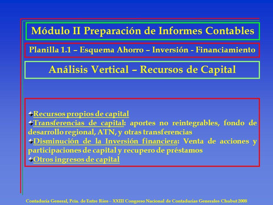 Contaduría General, Pcia. de Entre Ríos – XXIII Congreso Nacional de Contadurías Generales Chubut 2008 Recursos propios de capital Transferencias de c