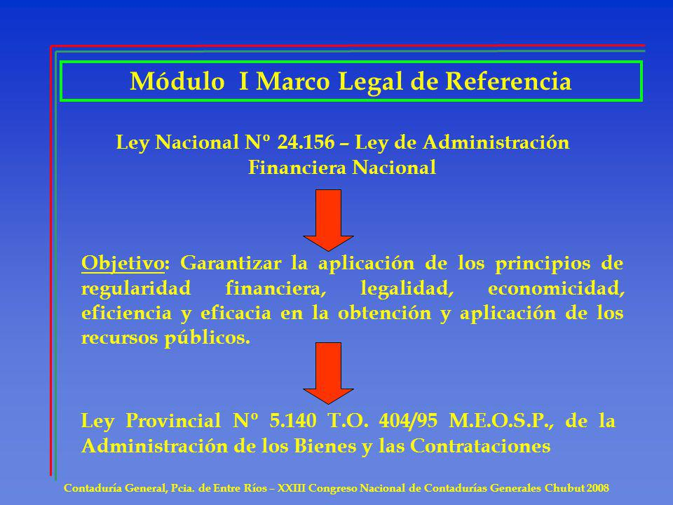 Módulo I Marco Legal de Referencia Contaduría General, Pcia.