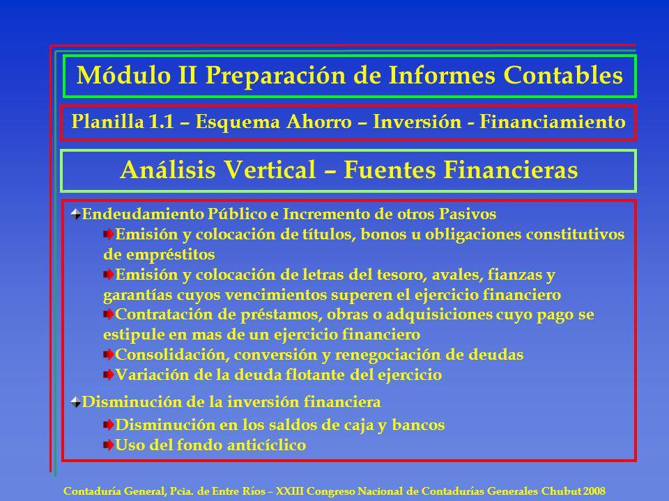 Contaduría General, Pcia. de Entre Ríos – XXIII Congreso Nacional de Contadurías Generales Chubut 2008 Módulo II Preparación de Informes Contables Aná