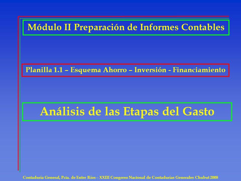 Contaduría General, Pcia. de Entre Ríos – XXIII Congreso Nacional de Contadurías Generales Chubut 2008 Análisis de las Etapas del Gasto Módulo II Prep