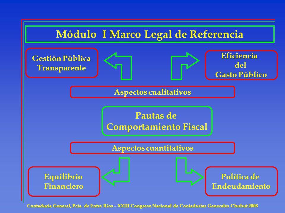 Módulo I Marco Legal de Referencia Contaduría General, Pcia. de Entre Ríos – XXIII Congreso Nacional de Contadurías Generales Chubut 2008 Pautas de Co
