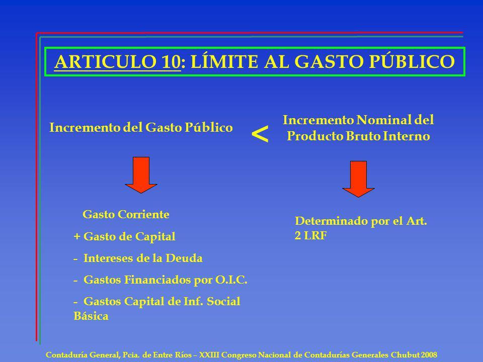 ARTICULO 10: LÍMITE AL GASTO PÚBLICO Contaduría General, Pcia. de Entre Ríos – XXIII Congreso Nacional de Contadurías Generales Chubut 2008 Incremento