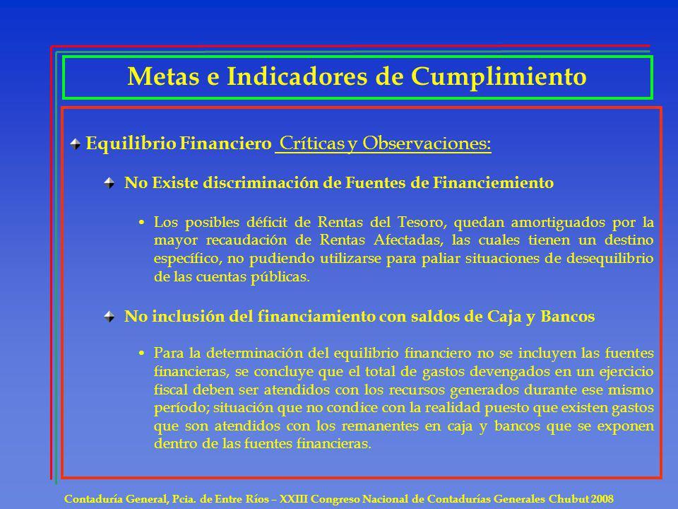 Metas e Indicadores de Cumplimiento Contaduría General, Pcia. de Entre Ríos – XXIII Congreso Nacional de Contadurías Generales Chubut 2008 Equilibrio