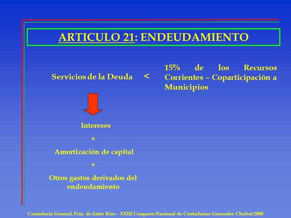 ARTICULO 21: ENDEUDAMIENTO Contaduría General, Pcia. de Entre Ríos – XXIII Congreso Nacional de Contadurías Generales Chubut 2008 Servicios de la Deud