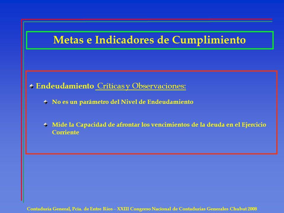 Metas e Indicadores de Cumplimiento Contaduría General, Pcia. de Entre Ríos – XXIII Congreso Nacional de Contadurías Generales Chubut 2008 Endeudamien