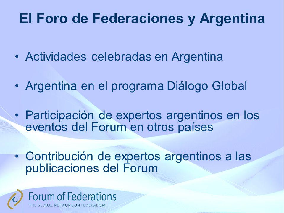 El Foro de Federaciones y Argentina Actividades celebradas en Argentina Argentina en el programa Diálogo Global Participación de expertos argentinos en los eventos del Forum en otros países Contribución de expertos argentinos a las publicaciones del Forum