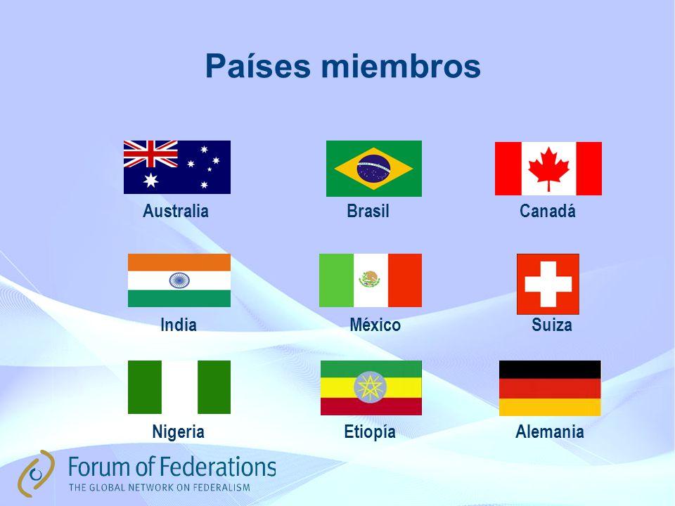 Países miembros AustraliaBrasilCanadá IndiaMéxico Nigeria Suiza AlemaniaEtiopía