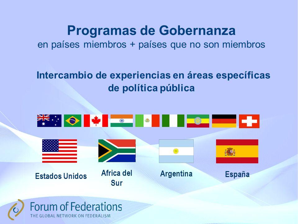 Programas de Gobernanza en países miembros + países que no son miembros Intercambio de experiencias en áreas específicas de política pública España Estados Unidos Africa del Sur Argentina