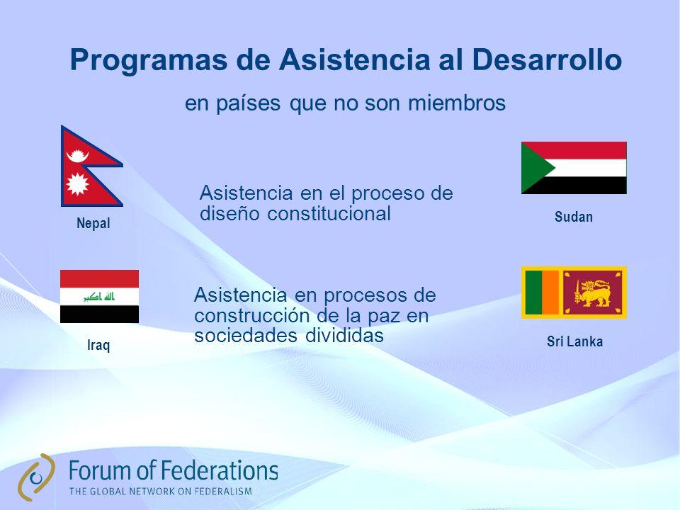 Programas de Asistencia al Desarrollo en países que no son miembros Iraq Nepal Sudan Asistencia en procesos de construcción de la paz en sociedades divididas Asistencia en el proceso de diseño constitucional Sri Lanka