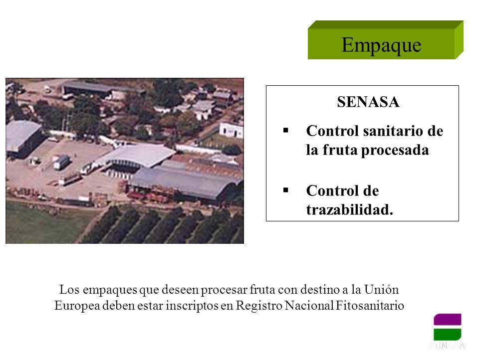 Empaque SENASA Control sanitario de la fruta procesada Control de trazabilidad. Los empaques que deseen procesar fruta con destino a la Unión Europea
