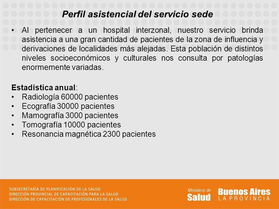 Perfil asistencial del servicio sede Al pertenecer a un hospital interzonal, nuestro servicio brinda asistencia a una gran cantidad de pacientes de la zona de influencia y derivaciones de localidades más alejadas.