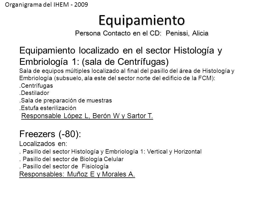 Organigrama del IHEM - 2009 Equipamiento localizado en el sector Histología y Embriología 1: (sala de Centrífugas) Sala de equipos múltiples localizado al final del pasillo del área de Histología y Embriología (subsuelo, ala este del sector norte del edificio de la FCM):.Centrífugas.Destilador.Sala de preparación de muestras.Estufa esterilización Responsable López L, Berón W y Sartor T.