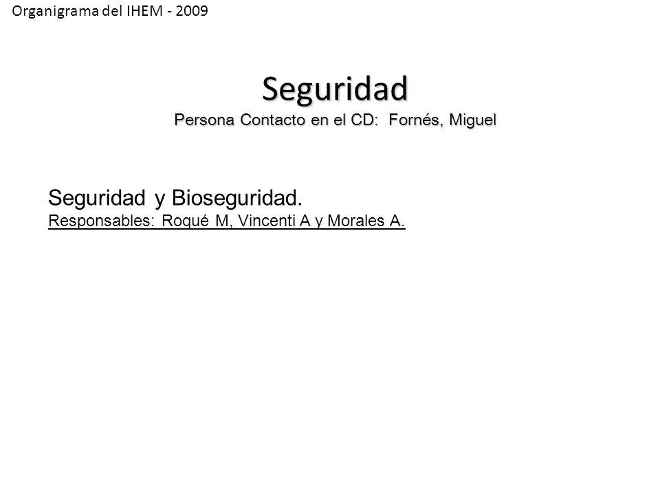 Organigrama del IHEM - 2009 Seguridad Persona Contacto en el CD: Fornés, Miguel Seguridad y Bioseguridad.