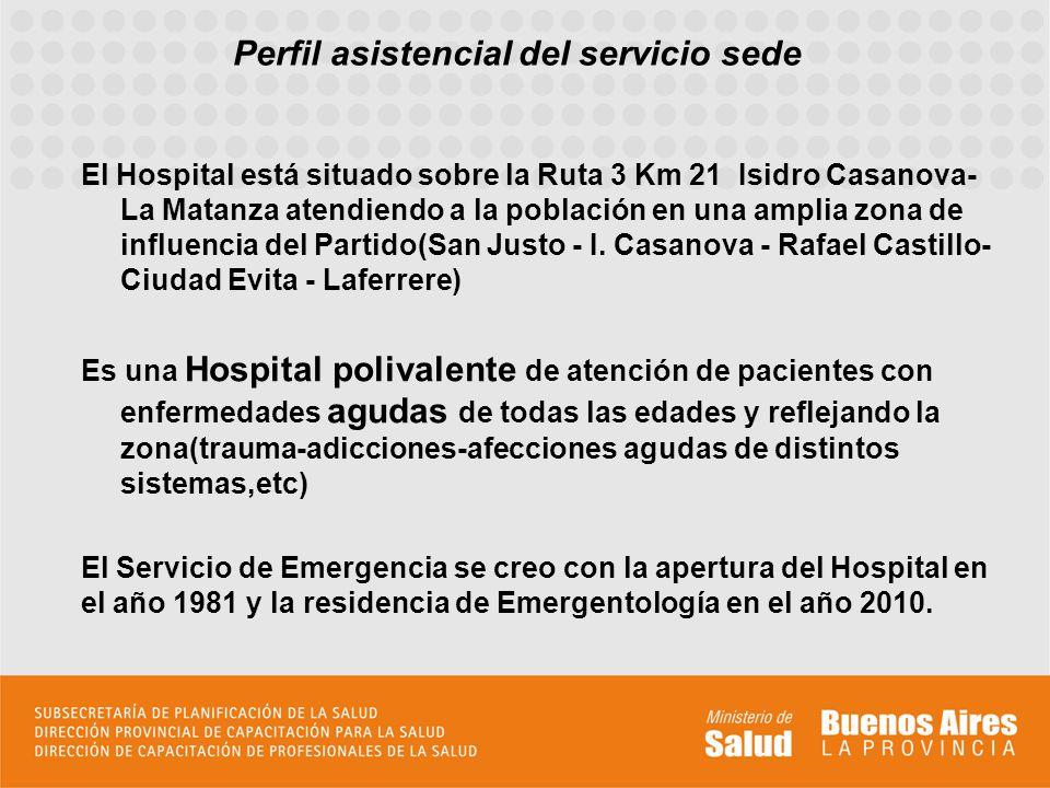 Perfil asistencial del servicio sede El Servicio de Emergencia cuenta con un shock room de 4 camas con respiradores y monitores, un miniquirófano, y 20 camas generales.