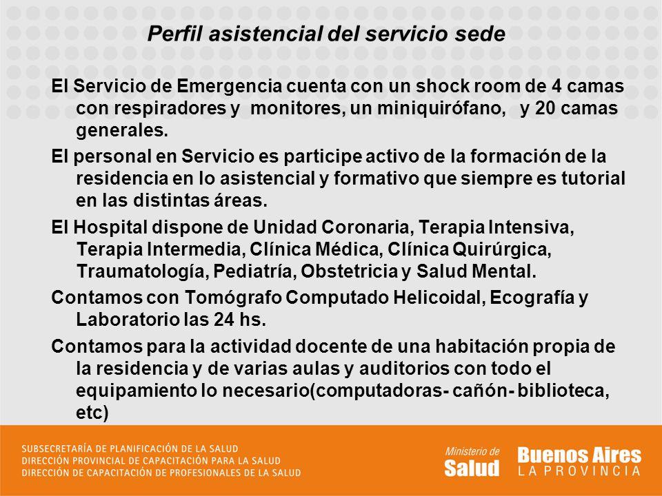 Perfil asistencial del servicio sede El Servicio de Emergencia cuenta con un shock room de 4 camas con respiradores y monitores, un miniquirófano, y 2