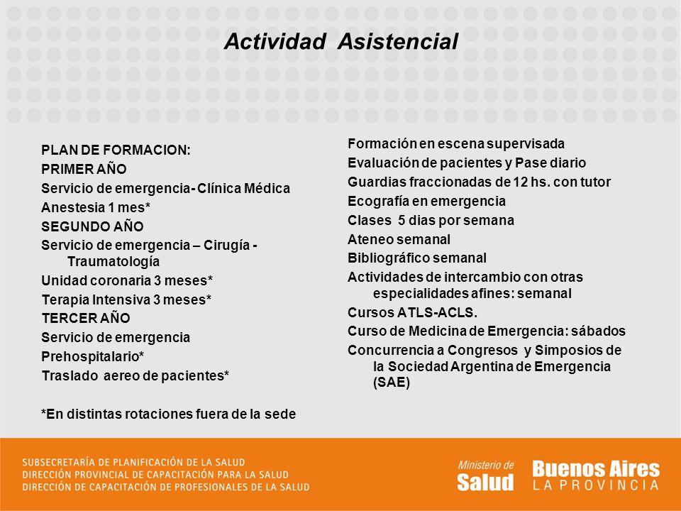 PLAN DE FORMACION: PRIMER AÑO Servicio de emergencia- Clínica Médica Anestesia 1 mes* SEGUNDO AÑO Servicio de emergencia – Cirugía - Traumatología Uni