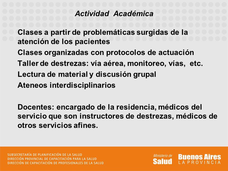 Clases a partir de problemáticas surgidas de la atención de los pacientes Clases organizadas con protocolos de actuación Taller de destrezas: vía aére