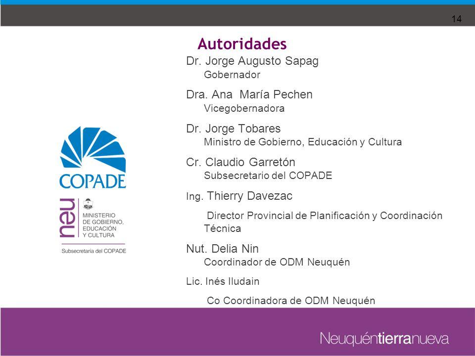 Dr. Jorge Augusto Sapag Gobernador Dra. Ana María Pechen Vicegobernadora Dr.