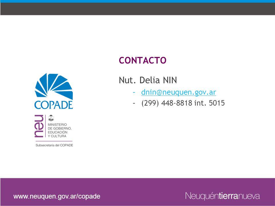 Nut. Delia NIN –dnin@neuquen.gov.ar@neuquen.gov.ar –(299) 448-8818 int.