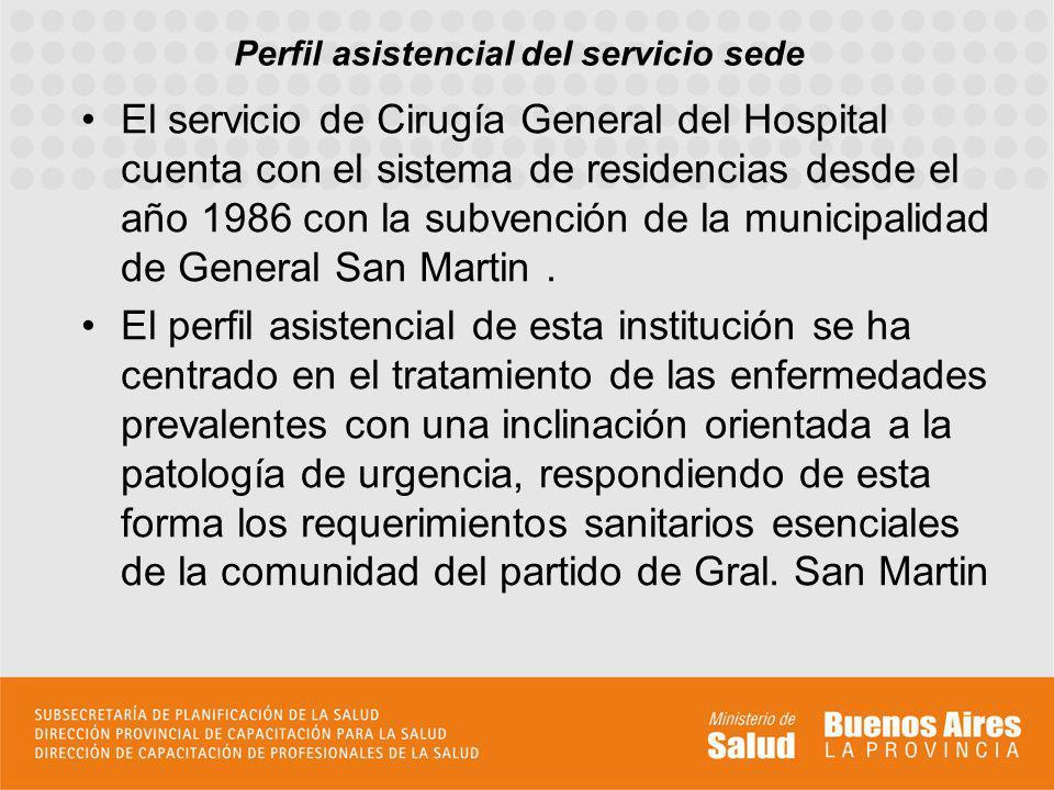 Perfil asistencial del servicio sede El servicio de Cirugía General del Hospital cuenta con el sistema de residencias desde el año 1986 con la subvenc