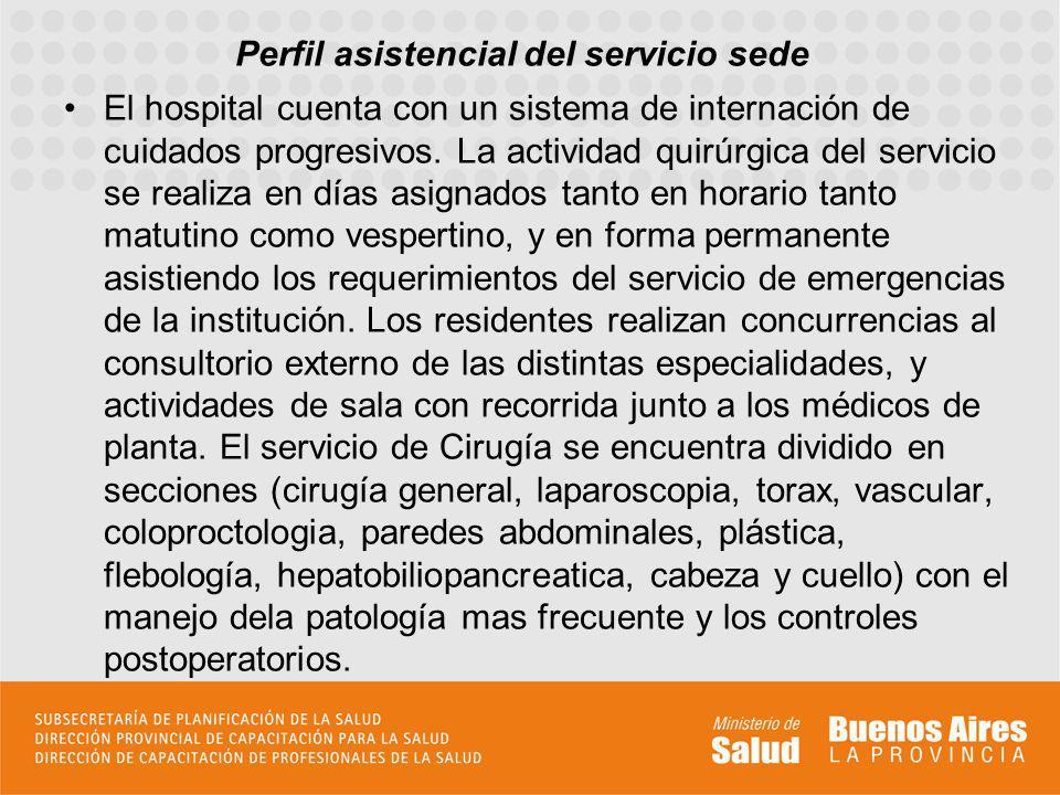 La actividad asistencial de los residentes se lleva a cabo en tres areas: A- Sala: en ella los residentes adquieren conocimientos y habilidades inherentes al manejo del paciente internados con los controles según el nivel de requerimiento de la patología.