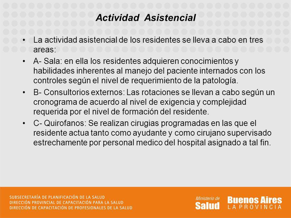 La actividad asistencial de los residentes se lleva a cabo en tres areas: A- Sala: en ella los residentes adquieren conocimientos y habilidades inhere