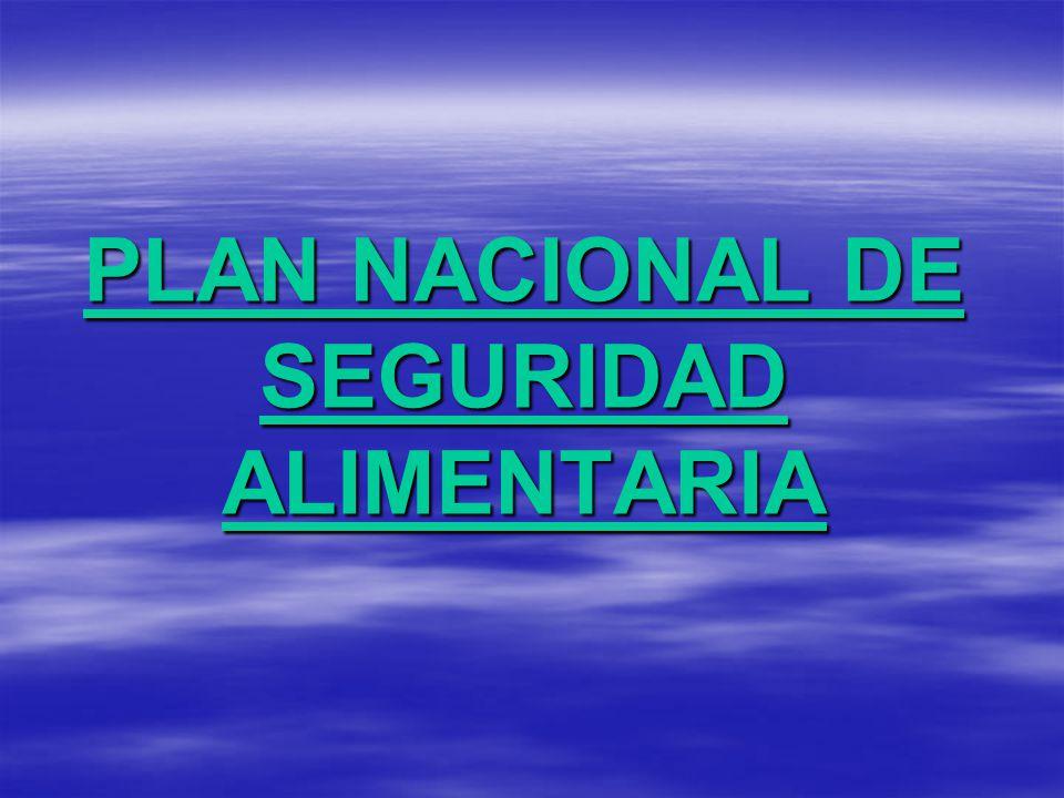 PLAN NACIONAL DE SEGURIDAD ALIMENTARIA