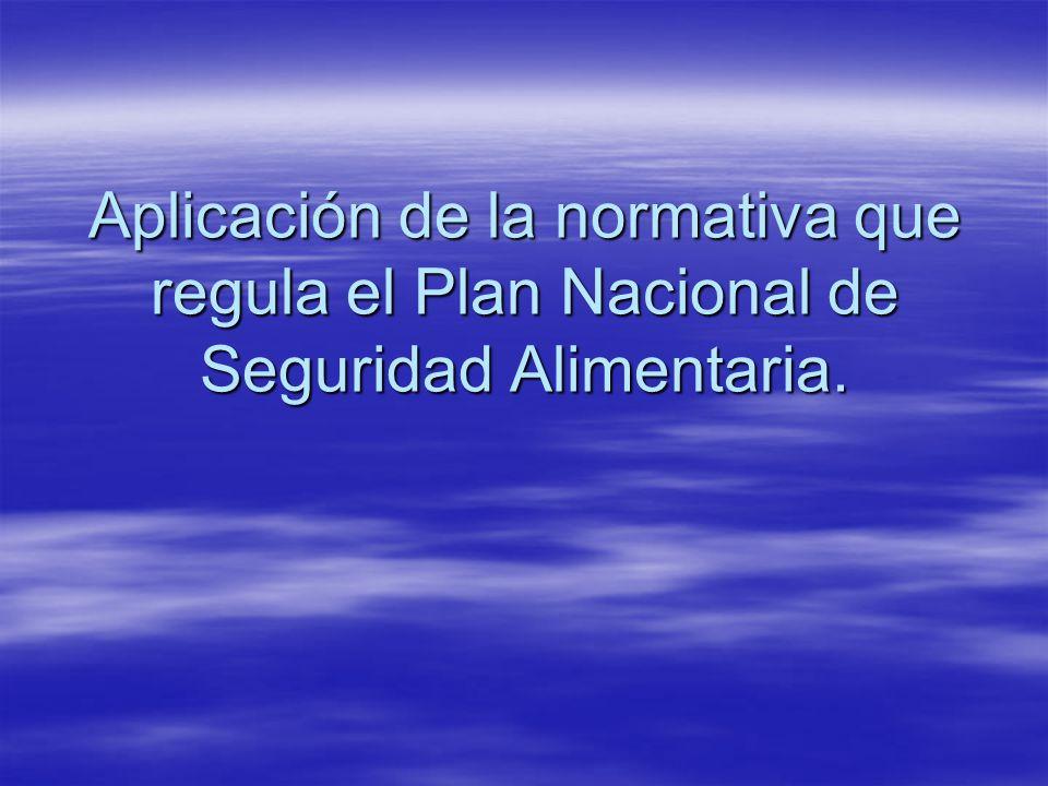 Aplicación de la normativa que regula el Plan Nacional de Seguridad Alimentaria.