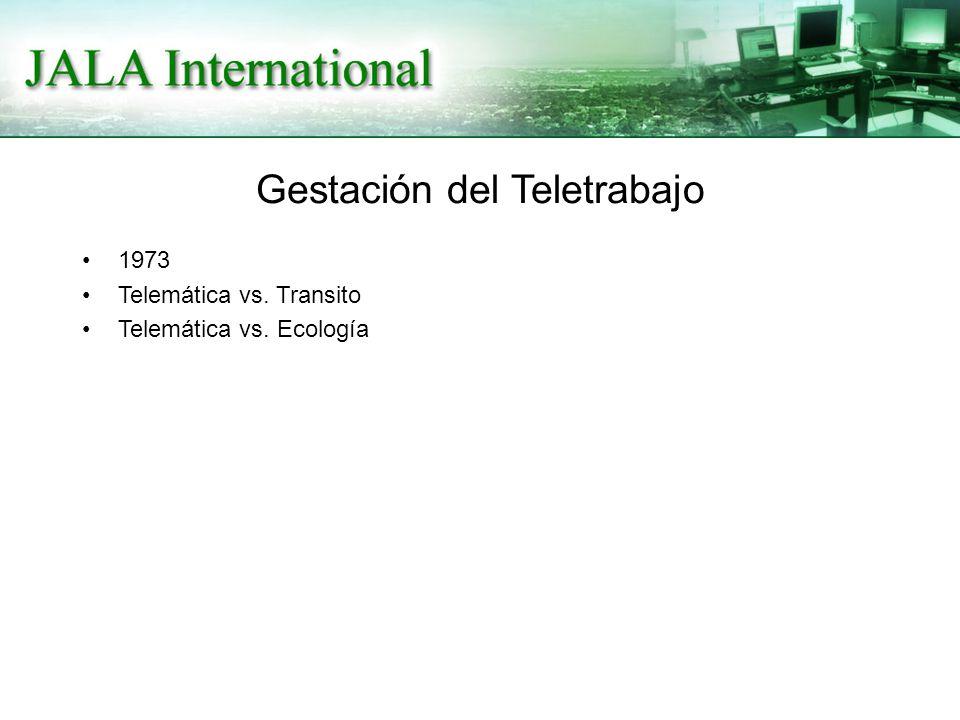 Gestación del Teletrabajo 1973 Telemática vs. Transito Telemática vs. Ecología