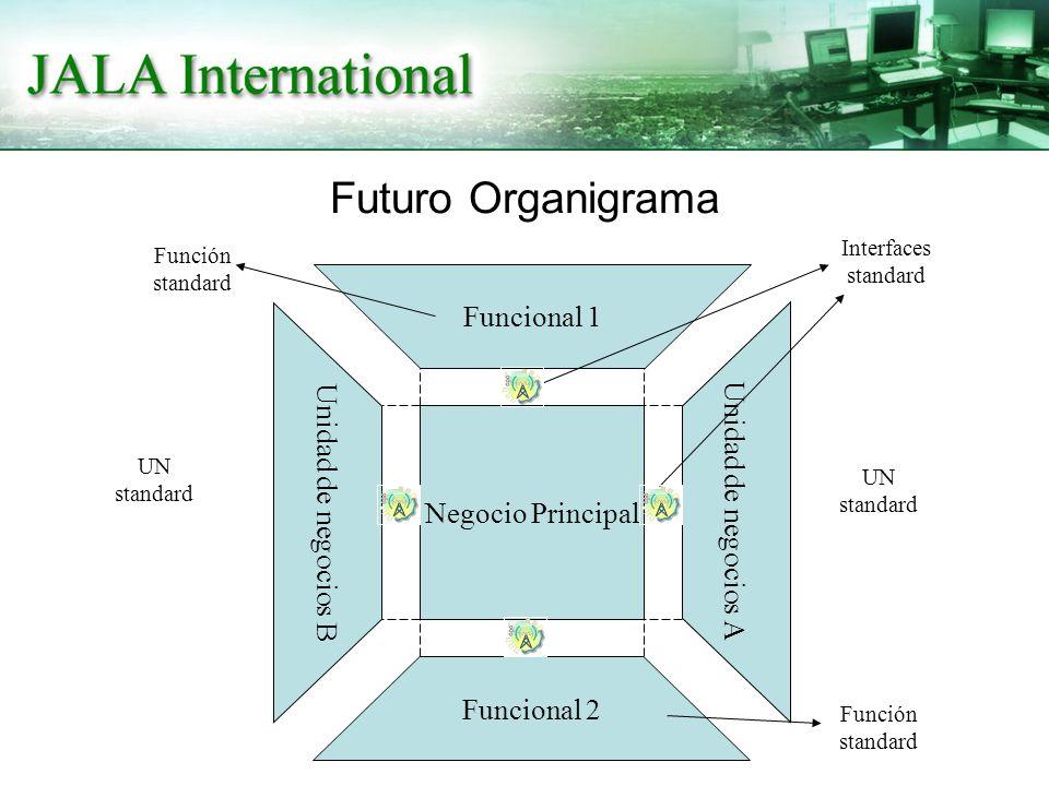 Futuro Organigrama Negocio Principal Funcional 1 Funcional 2 Unidad de negocios A Unidad de negocios B Interfaces standard UN standard Función standard UN standard