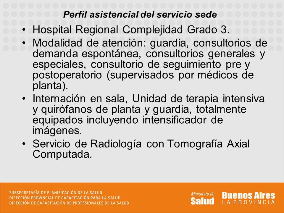 Perfil asistencial del servicio sede Hospital Regional Complejidad Grado 3. Modalidad de atención: guardia, consultorios de demanda espontánea, consul