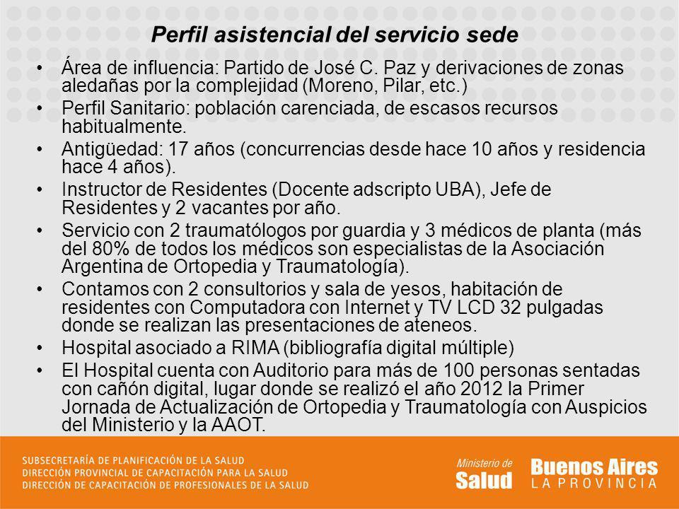 Perfil asistencial del servicio sede Área de influencia: Partido de José C. Paz y derivaciones de zonas aledañas por la complejidad (Moreno, Pilar, et