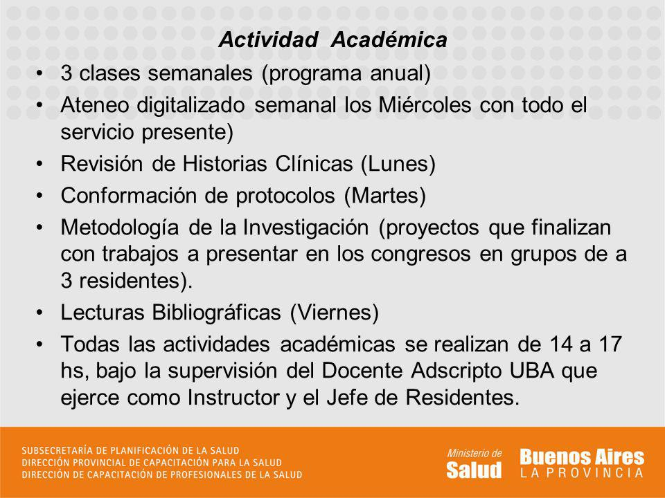 3 clases semanales (programa anual) Ateneo digitalizado semanal los Miércoles con todo el servicio presente) Revisión de Historias Clínicas (Lunes) Co