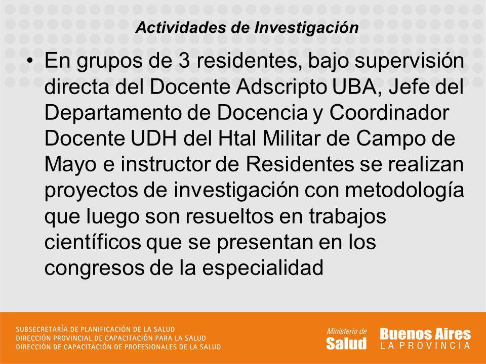 En grupos de 3 residentes, bajo supervisión directa del Docente Adscripto UBA, Jefe del Departamento de Docencia y Coordinador Docente UDH del Htal Mi