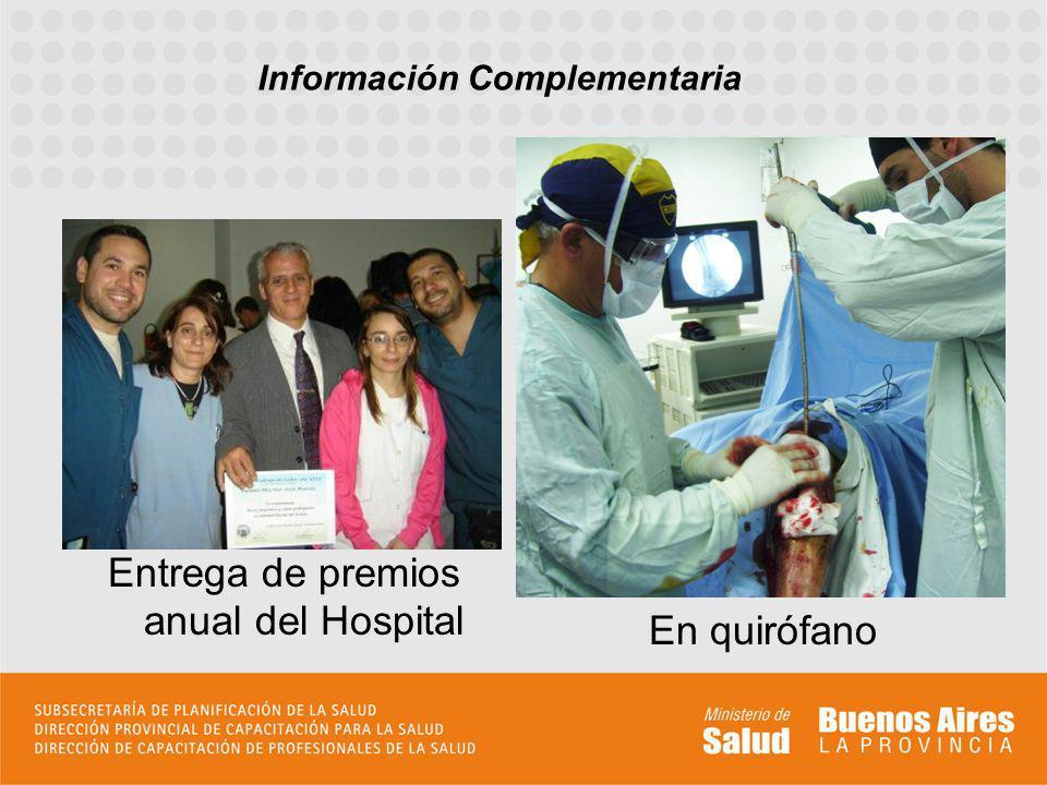 Entrega de premios anual del Hospital En quirófano Información Complementaria