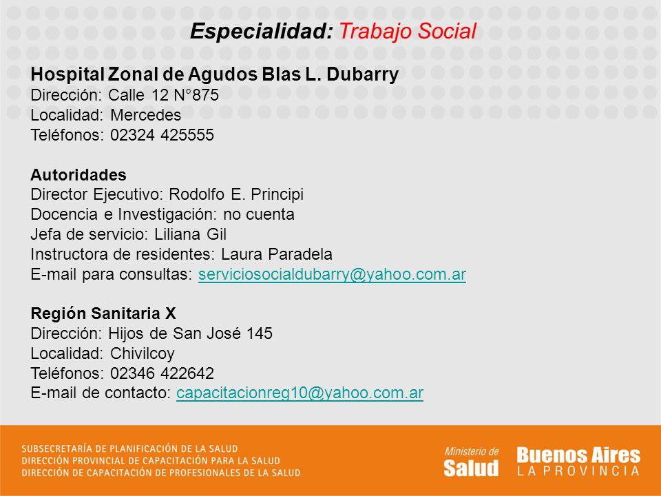 Caracterización La institución sede de Residencia es en la ciudad de Mercedes, en el Hospital Blas L.