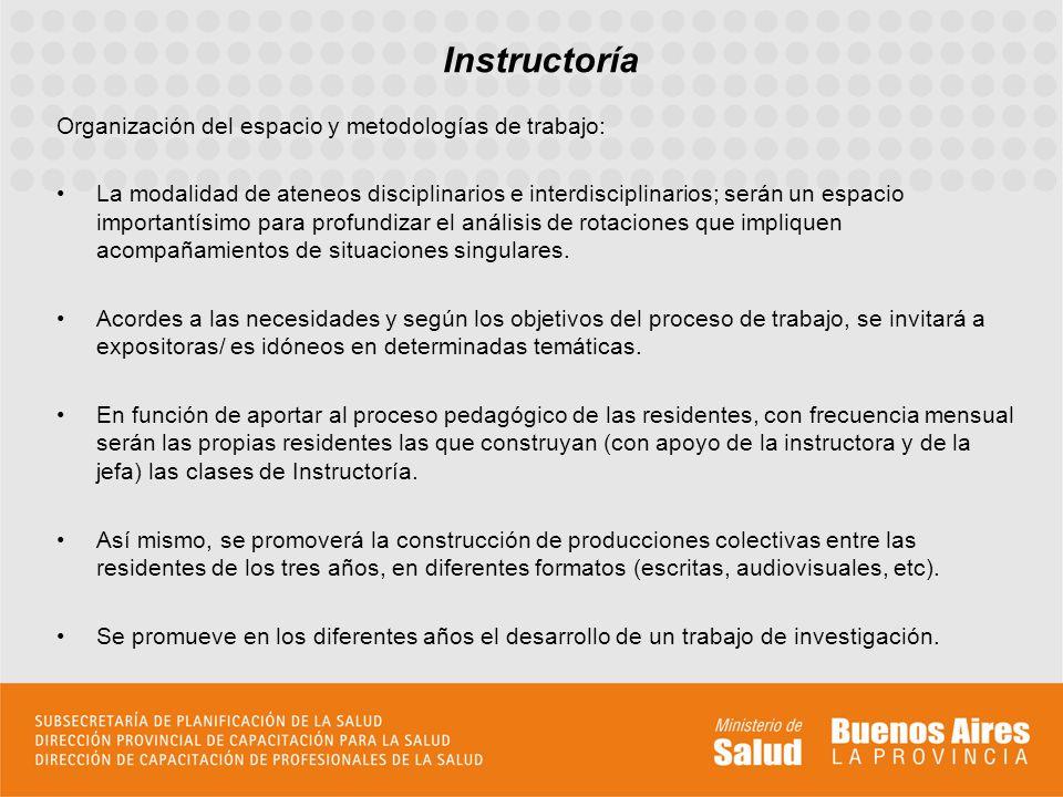 Organización del espacio y metodologías de trabajo: La modalidad de ateneos disciplinarios e interdisciplinarios; serán un espacio importantísimo para