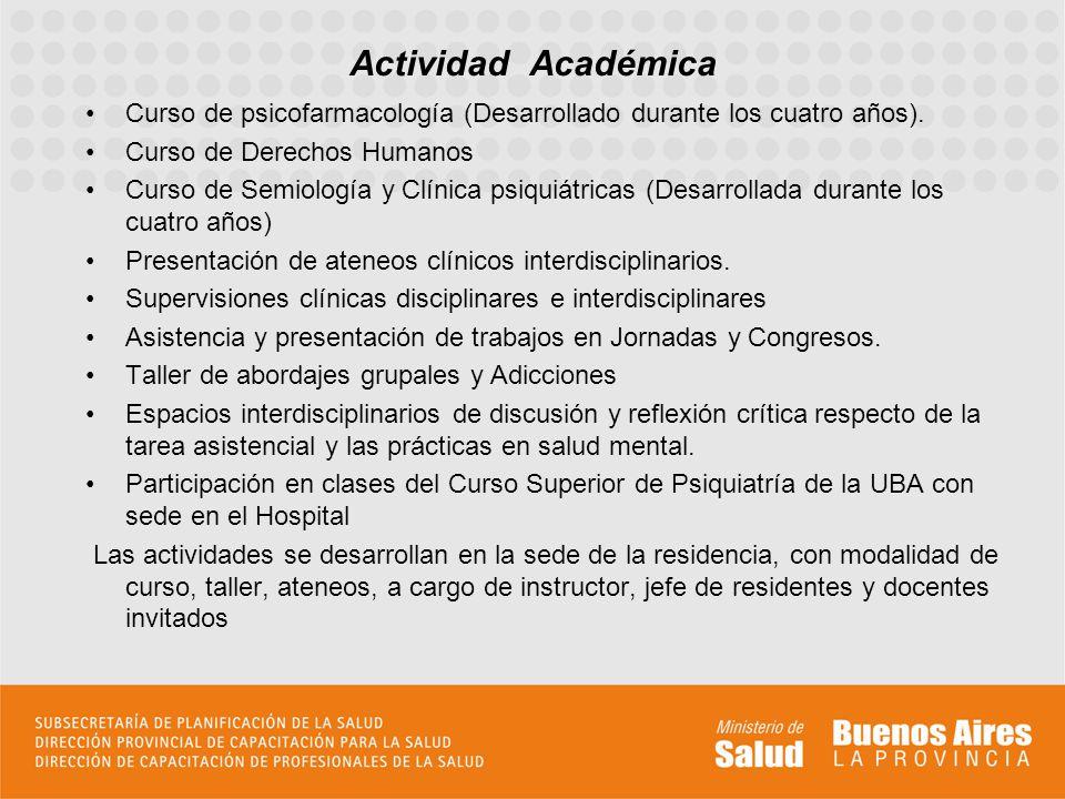 Curso de psicofarmacología (Desarrollado durante los cuatro años). Curso de Derechos Humanos Curso de Semiología y Clínica psiquiátricas (Desarrollada
