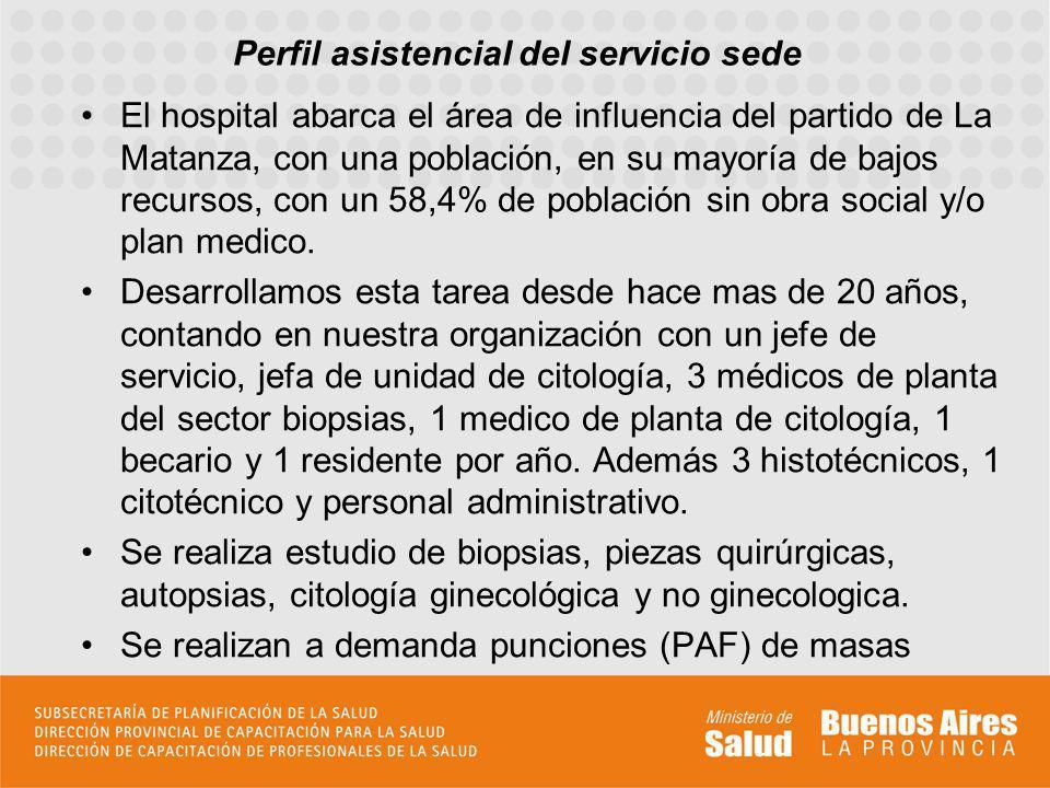Perfil asistencial del servicio sede El hospital abarca el área de influencia del partido de La Matanza, con una población, en su mayoría de bajos rec