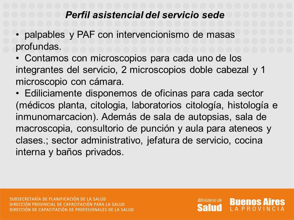 Perfil asistencial del servicio sede palpables y PAF con intervencionismo de masas profundas. Contamos con microscopios para cada uno de los integrant