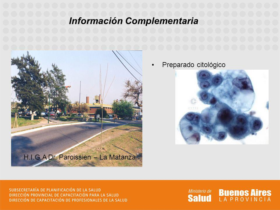 Preparado citológico Información Complementaria H.I.G.A Dr. Paroissien – La Matanza
