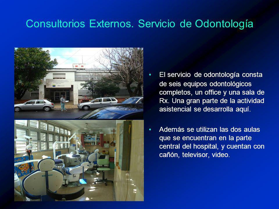Consultorios Externos. Servicio de Odontología El servicio de odontología consta de seis equipos odontológicos completos, un office y una sala de Rx.