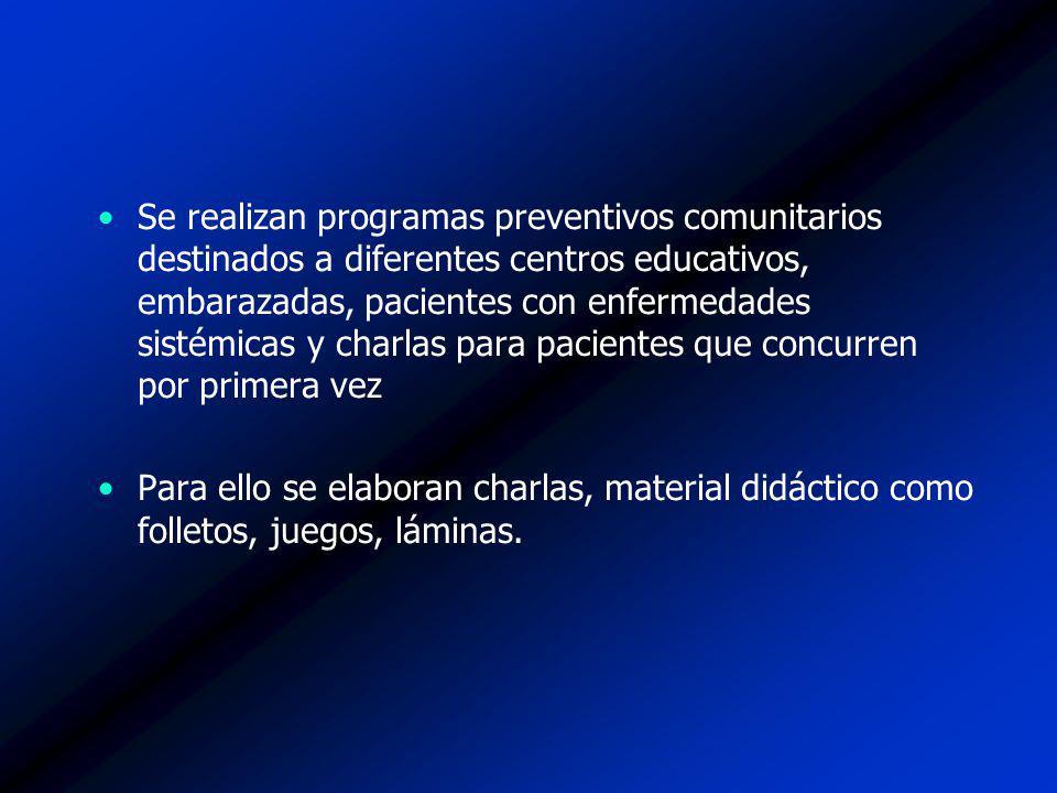 Se realizan programas preventivos comunitarios destinados a diferentes centros educativos, embarazadas, pacientes con enfermedades sistémicas y charla