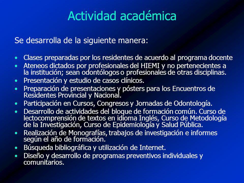 Actividad académica Se desarrolla de la siguiente manera: Clases preparadas por los residentes de acuerdo al programa docente Ateneos dictados por pro