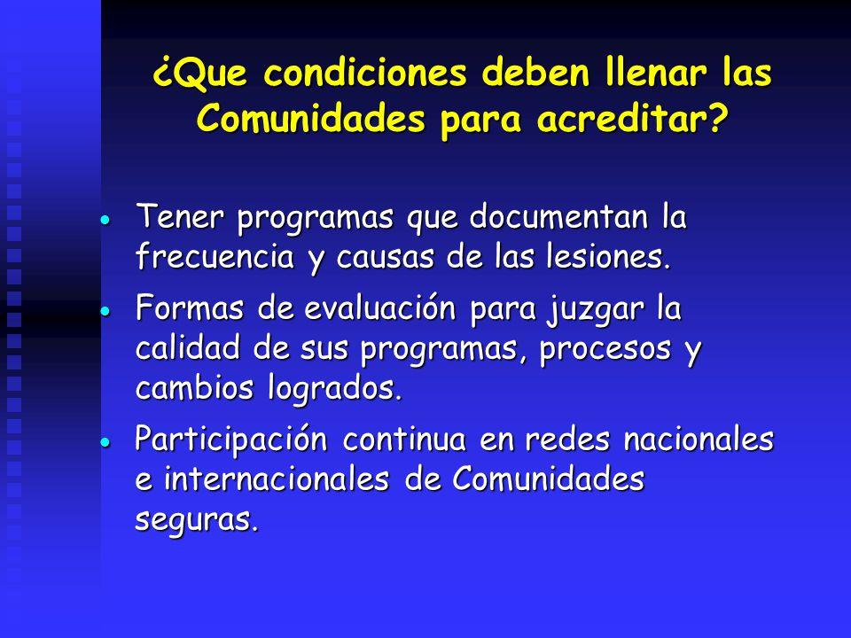 ¿Que condiciones deben llenar las Comunidades para acreditar? Tener programas que documentan la frecuencia y causas de las lesiones. Tener programas q