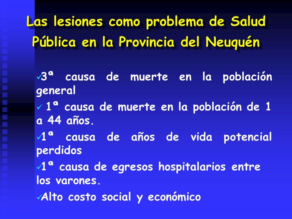 Las lesiones como problema de Salud Pública en la Provincia del Neuquén 3ª causa de muerte en la población general 1ª causa de muerte en la población de 1 a 44 años.