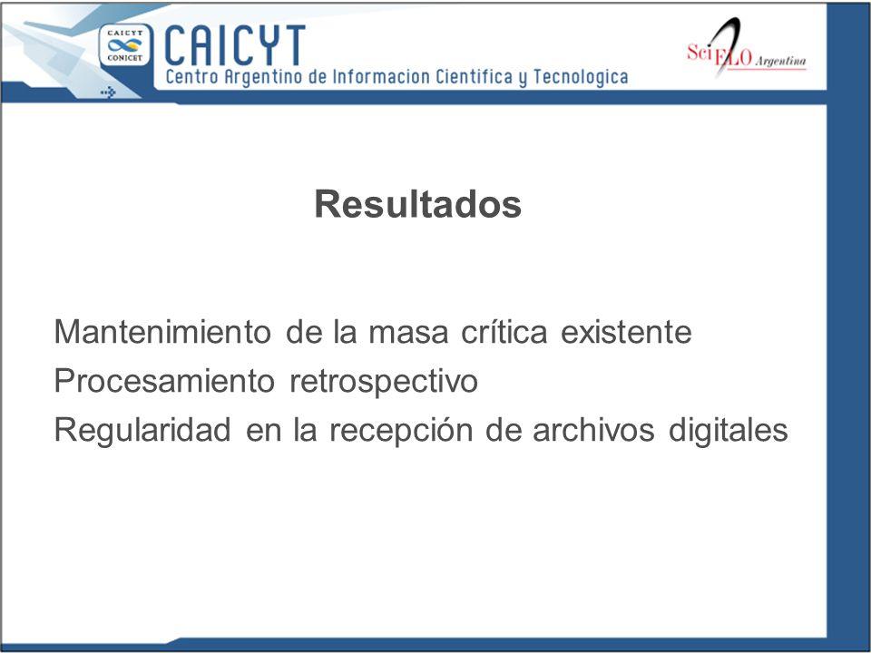 Resultados Mantenimiento de la masa crítica existente Procesamiento retrospectivo Regularidad en la recepción de archivos digitales
