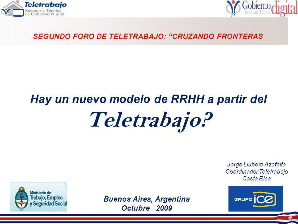Buenos Aires, Argentina Octubre 2009 Hay un nuevo modelo de RRHH a partir del Teletrabajo? SEGUNDO FORO DE TELETRABAJO: CRUZANDO FRONTERAS Jorge Llube