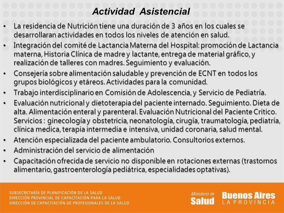 La residencia de Nutrición tiene una duración de 3 años en los cuales se desarrollaran actividades en todos los niveles de atención en salud.La reside