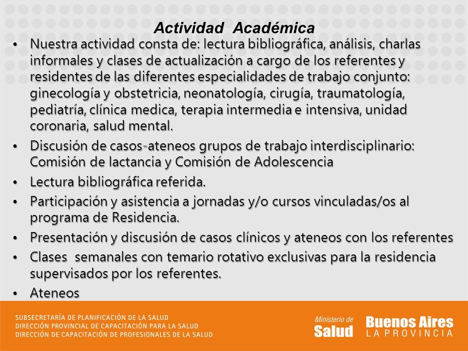 Nuestra actividad consta de: lectura bibliográfica, análisis, charlas informales y clases de actualización a cargo de los referentes y residentes de l